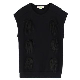 Stella McCartney Black Faux-Fur Applique Top