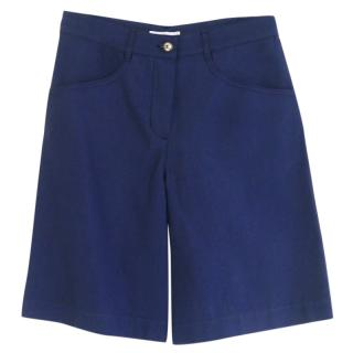 Chanel Blue Cotton & Silk-Blend Bermuda Shorts
