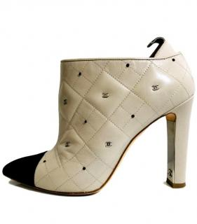 Chanel Two Tone Embellished Ankle Boots