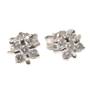 Diamond-Embellished Star Cluster 18ct Gold Earrings