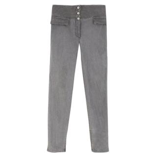 Alexander McQueen Grey Highwaisted Slim-Leg Denim Jeans