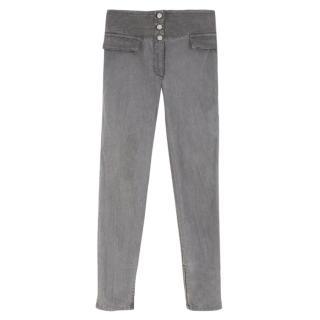 Alexander McQueen Grey Highwaisted Slim-Leg Denim Jeans