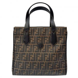 Fendi Vintage Black & Brown Zucca Tote Bag