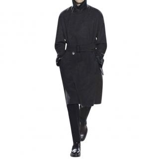 Hermes leather-trimmed wool coat