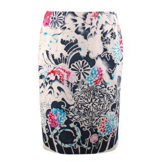 Gianni Versace Couture Vintage Floral Pencil Skirt