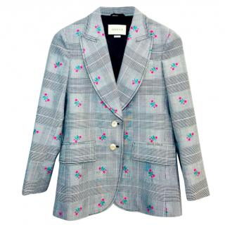Gucci floral-jacquard checked jacket
