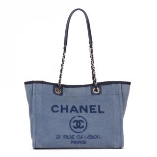 Chanel Blue Denim Deauville Tote