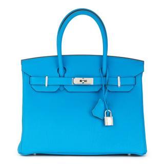Hermes Blue Zanzibar & Malachite Leather Birkin 30cm