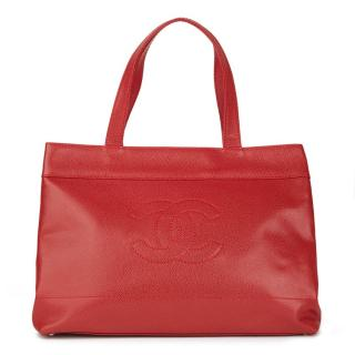 Chanel Red Caviar-Leather Tote