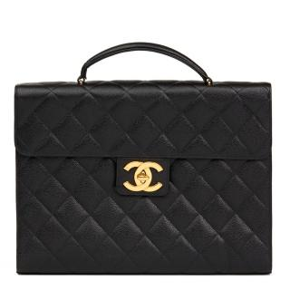 Chanel Black Quilted-Leather Vintage XL Classic Briefcase