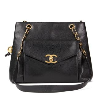 Chanel Vintage Black Caviar-Leather Shoulder Bag