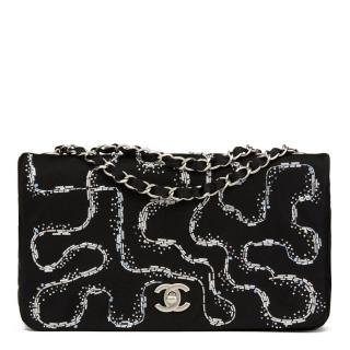 Chanel LED Embellished-Satin Medium Single Flap Bag