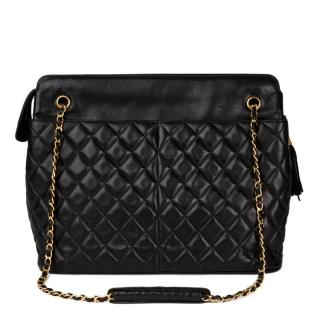 Chanel Black Quilted-Leather Vintage Timeless Shoulder Bag
