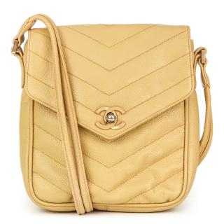 Chanel Beige Chevron-Quilted Leather Classic Bag