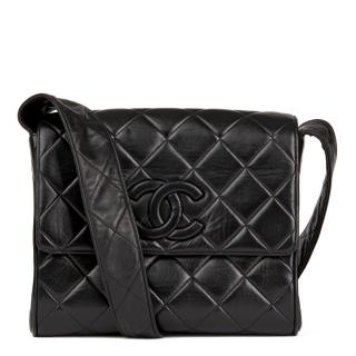 Chanel Black Quilted-Leather Vintage Logo Cross-body Bag