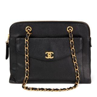 Chanel Black Caviar-Leather Vintage Shoulder Bag
