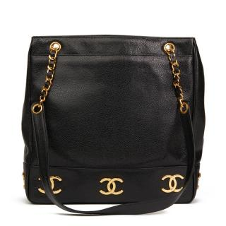Chanel Black Caviar Leather Jumbo Logo Trim Shoulder Bag