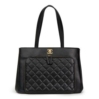Chanel Black Quilted Caviar-Leather Large Shoulder Bag