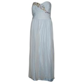 Marchesa Notte light-blue embellished strapless gown