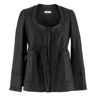 Balenciaga Empire-Waist Black Leather Jacket