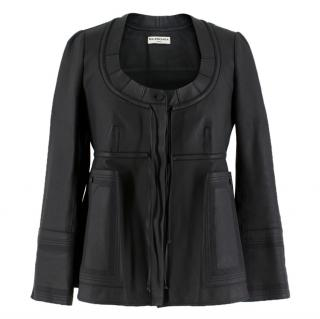Balenciaga Empire-Waist Black Leather Jacket