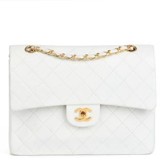 Chanel White Quilted-Leather Vintage Medium Tall Bag