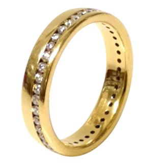 Diamond-Embellished Eternity Wide Band 18ct Gold Ring