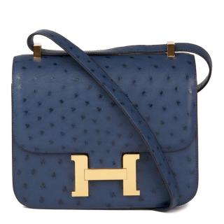 Hermes Bleu de Malte Ostrich-Leather Constance 24 Bag
