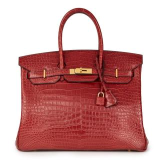 Hermes Rouge Porosus Crocodile Leather Birkin Bag 35cm