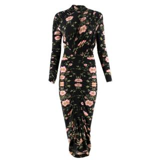 Preen by Thornton Bregazzi Black & Pink Floral-Print Midi Dress