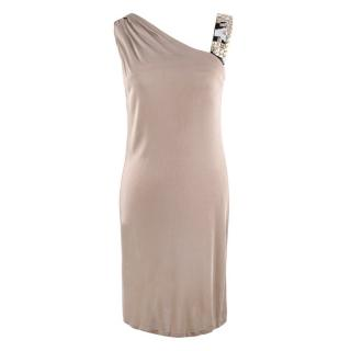 Emilio Pucci Beige Embellished-Strap Draped Dress