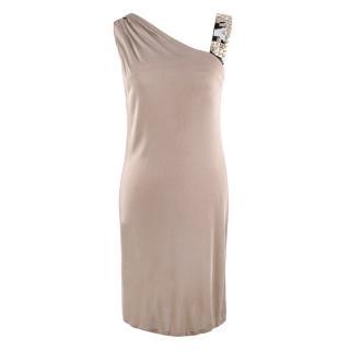 Emilio Pucci Beige Embellished-Strap Draped Dress