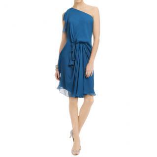 Diane Von Furstenberg Teal One-Shoulder Dress