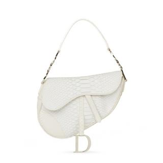 Christian Dior White Python Large Saddle Bag