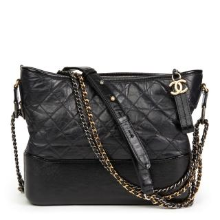 Chanel Black Quilted-Leather Gabrielle Hobo Bag