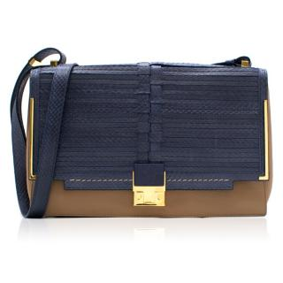 Lanvin Blue and Beige Woven Snakeskin Partition Bag