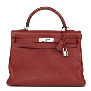 Hermes Rouge H Clemence Leather Kelly 32cm Retourne