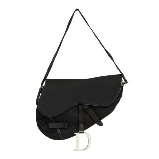 Christian Dior Black Mesh Crossbody Saddle Bag