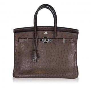 Hermes Dark Chocolate Brown 35cm Ostrich Birkin Bag