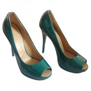 Giuseppe Zanotti pantent leather turquoise shoes