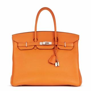 Hermes Orange Togo Leather Birkin 35cm Bag