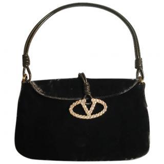 Valentino Velvet Rhinestone-Embellished Bag