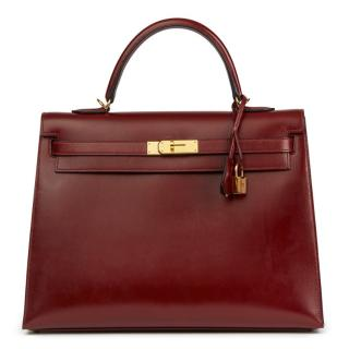 Hermes Rouge Leather Kelly 35cm Bag