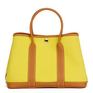 Hermes Lime Canvas & Leather Garden Party 30cm Tote