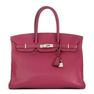 Hermes Tosca Clemence Grained Leather Birkin 35cm Bag
