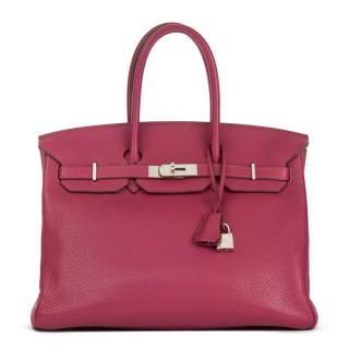 Hermes Tosca Clemence Grained Leather Birkin 35cm Bag 4aa2174e59127