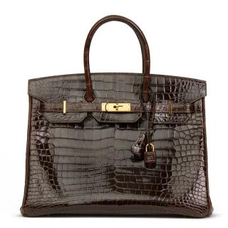 Hermes Brown Shiny Porosus Crocodile Birkin 35cm Bag