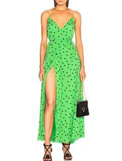 Ganni Green Polka-dot Flared Maxi Dress