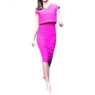 Victoria Beckham Magenta Double-Crepe Dress
