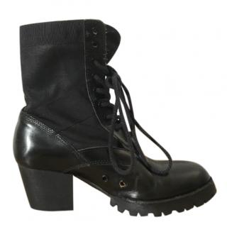 Junya Watanabe Comme Des Garcons black leather & canvas lace up boots
